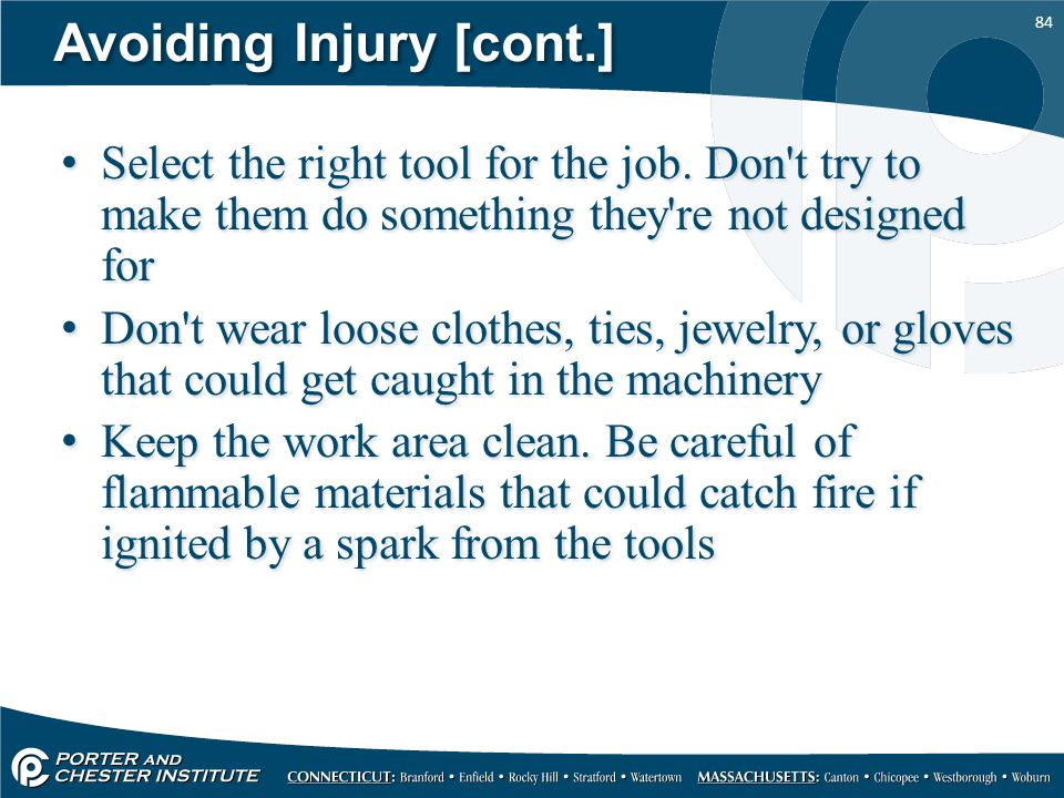 Avoiding Injury [cont.]